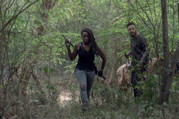 Danai Gurira as Michonne, Ross Marquand as Aaron - The Walking Dead _ Season 10, Episode 1 - Photo Credit: Jackson Lee Davis/AMC