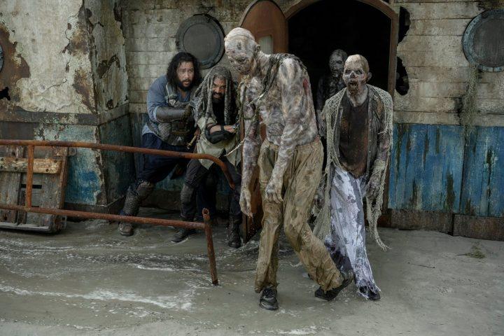 Khary Payton as Ezekiel, Cooper Andrews as Jerry - The Walking Dead _ Season 10, Episode 1 - Photo Credit: Gene Page/AMC